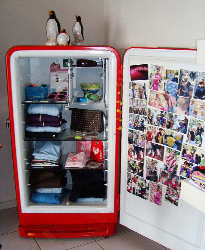 Шкаф из старого холодильника-фото