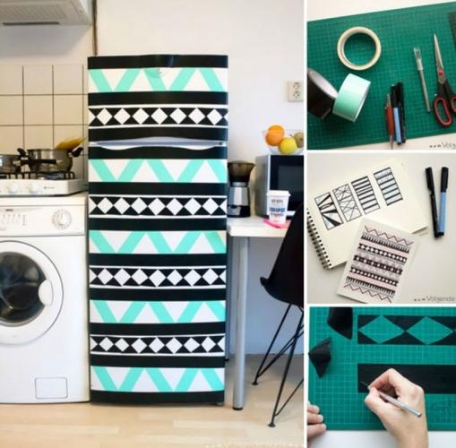 Цветной скотч-для декора старого холодильника