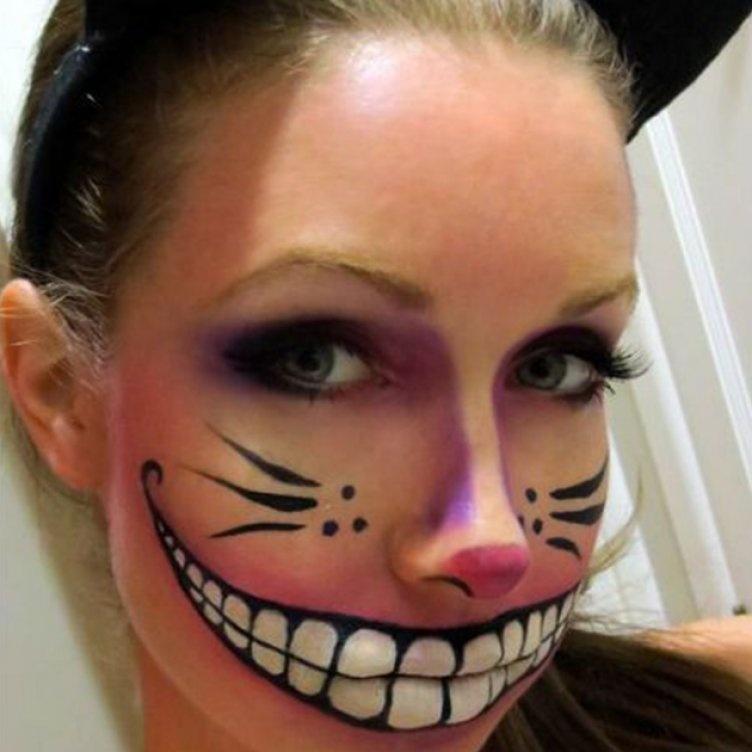 Идеи для жуткого макияжа на Хэллоуин-Чеширский кот