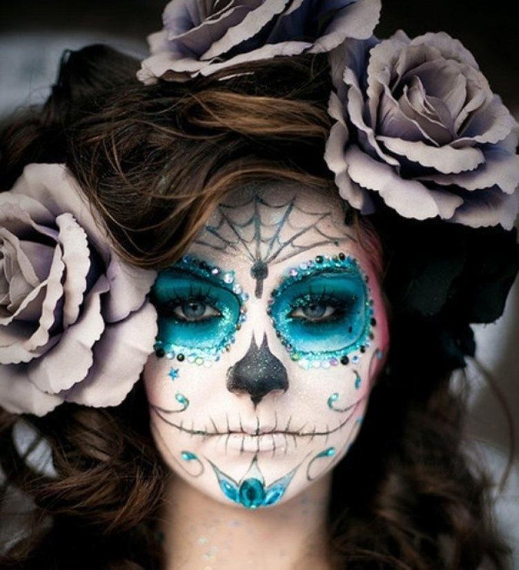 Идеи для жуткого макияжа на Хэллоуин-мексиканский череп