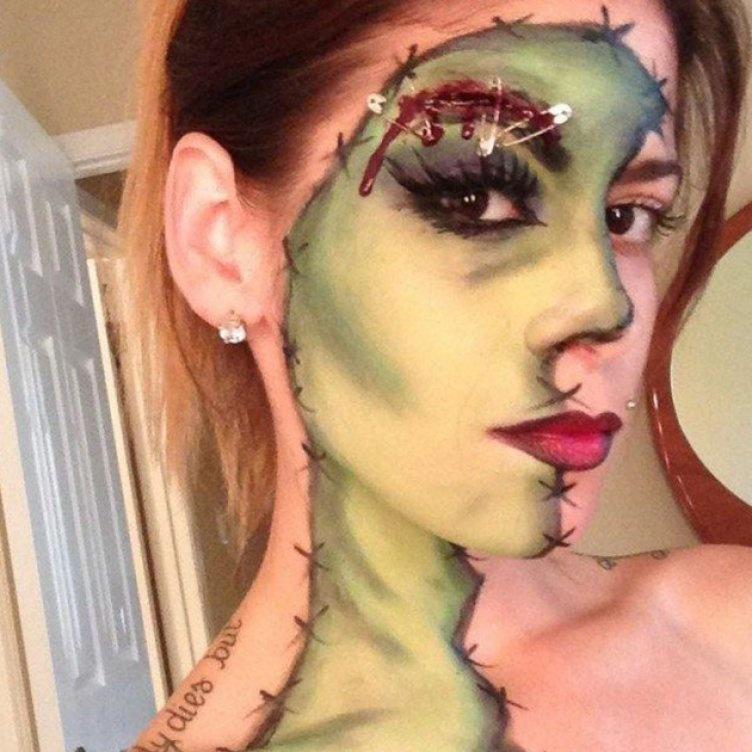 Идеи для жуткого макияжа на Хэллоуин-зомби-девушка