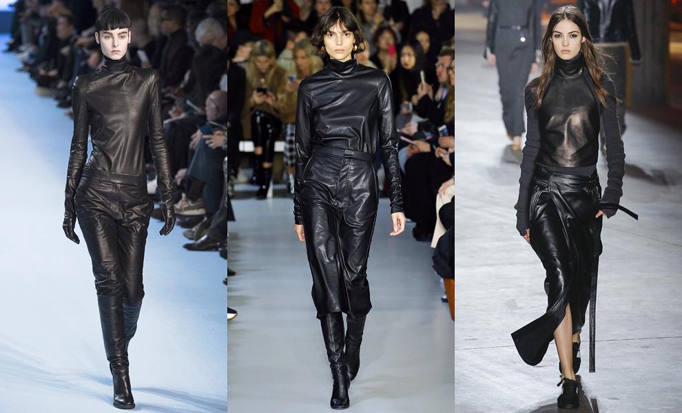 Модные тенденции с показов сезона осень-зима – 2017-черная кожа фото 2