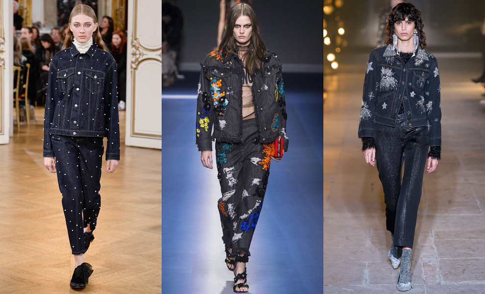 Модные тенденции с показов сезона осень-зима – 2017-деним цвета индиго с украшениями