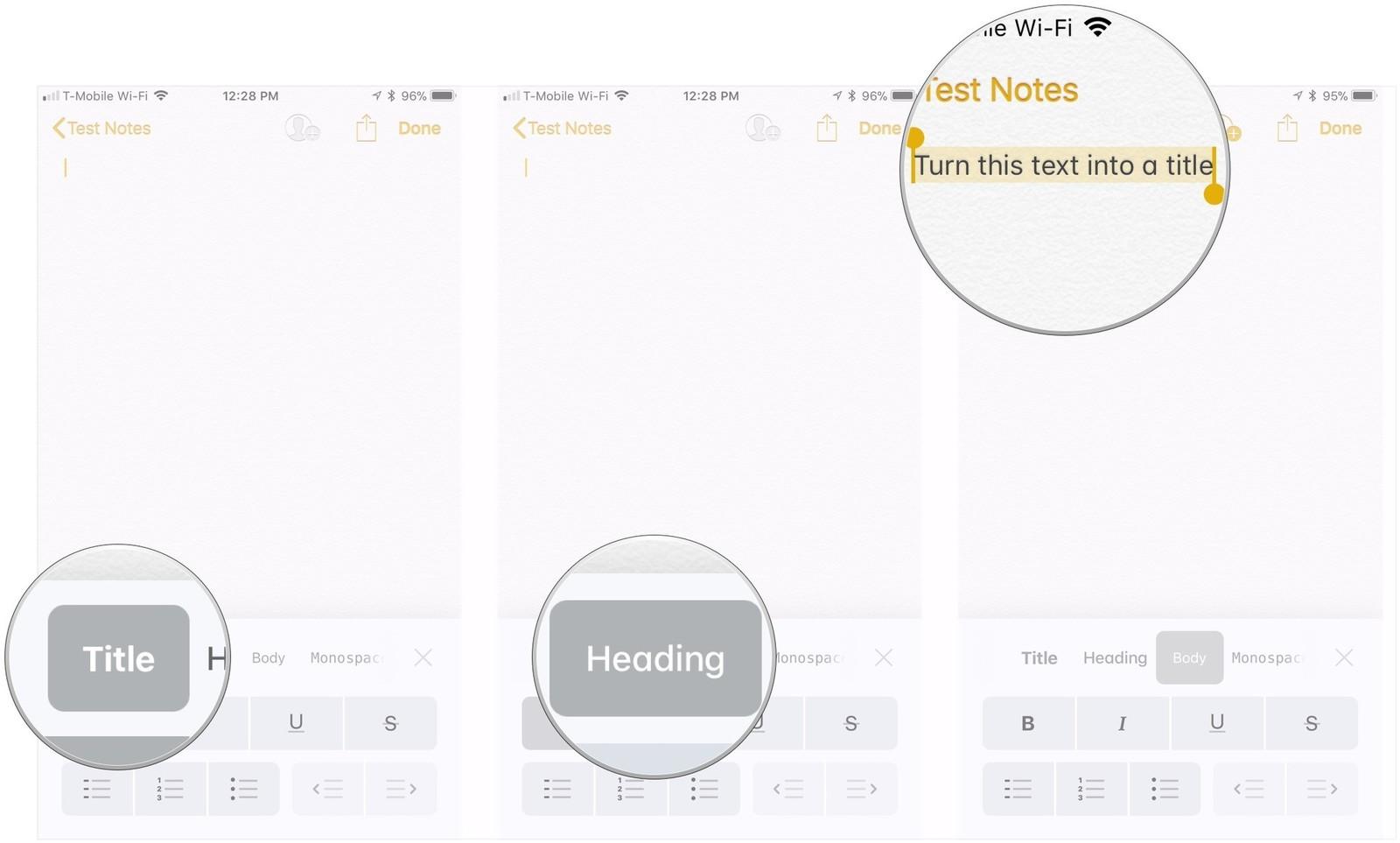 Как форматировать заметки на iPhone и iPad - создание названий и заголовков (2)