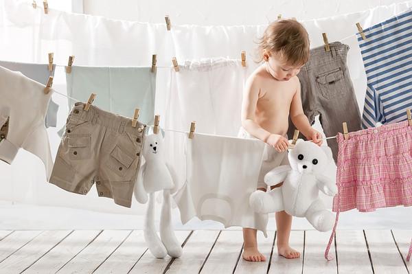 Как устроена стиральная машина_принцип работы - вещи на сушке