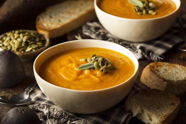 Пряный суп из тыквы-с чечевицей
