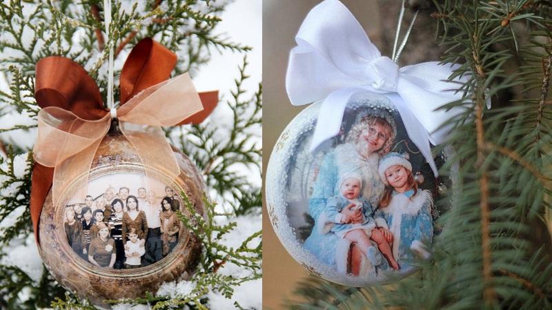 Декор новогоднего шара-с помощью памятных фото
