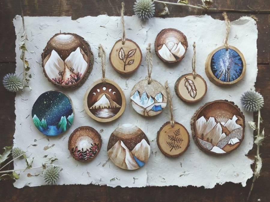 Деревянные елочные украшения-роспись