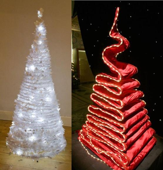 Елка-светильник и елка из скатерти-новогодний креатив