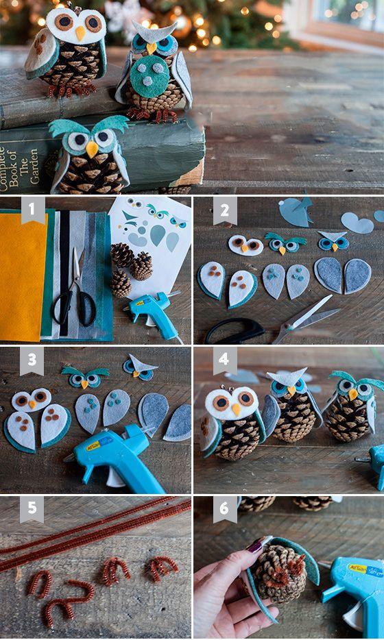 Фетровые совы с шишек-фото
