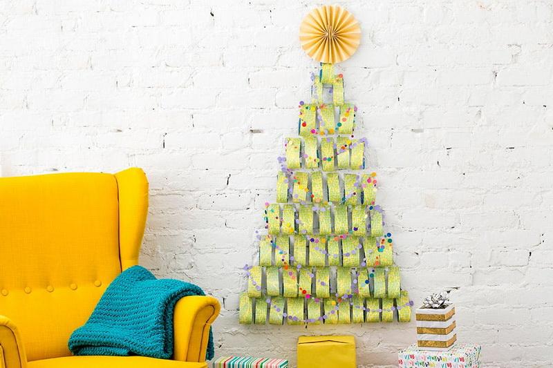Настенная елка-идеи декор помещения