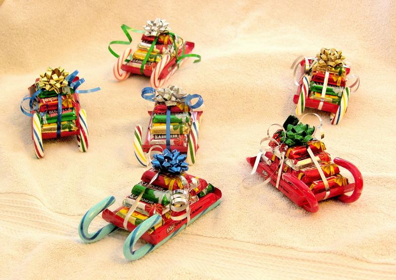 Новогодние сани-сладкий подарок идеи и креатив