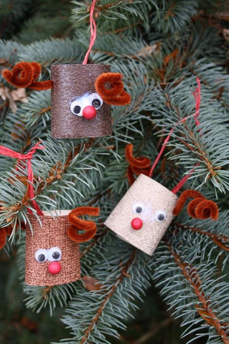 Олени из картона-декор елки