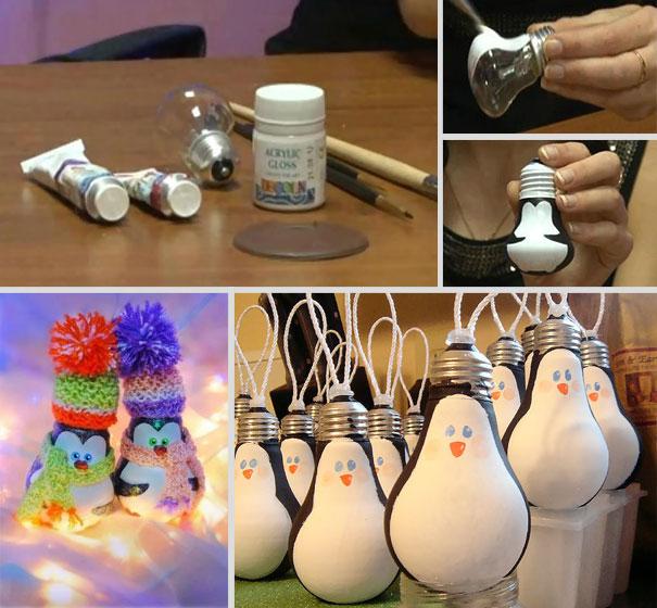 Пингвины из лампочек-фото