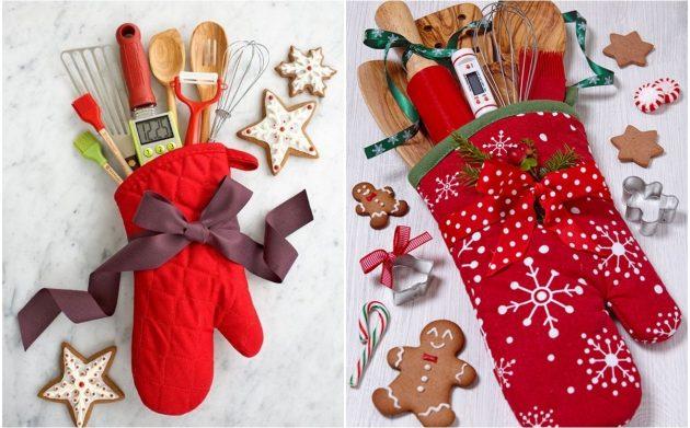 Прихватка-рукавица-подарки на Новый год своими руками