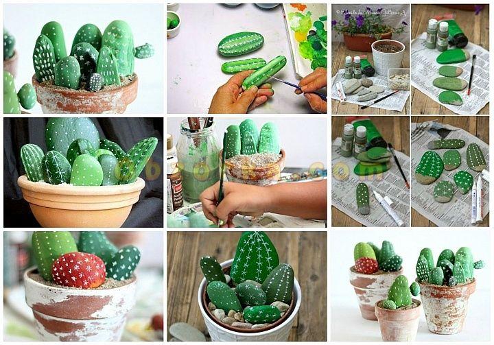 DIY-кактус из камней коллаж