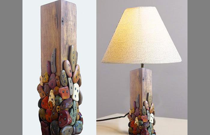Декор лампы камнями-фото
