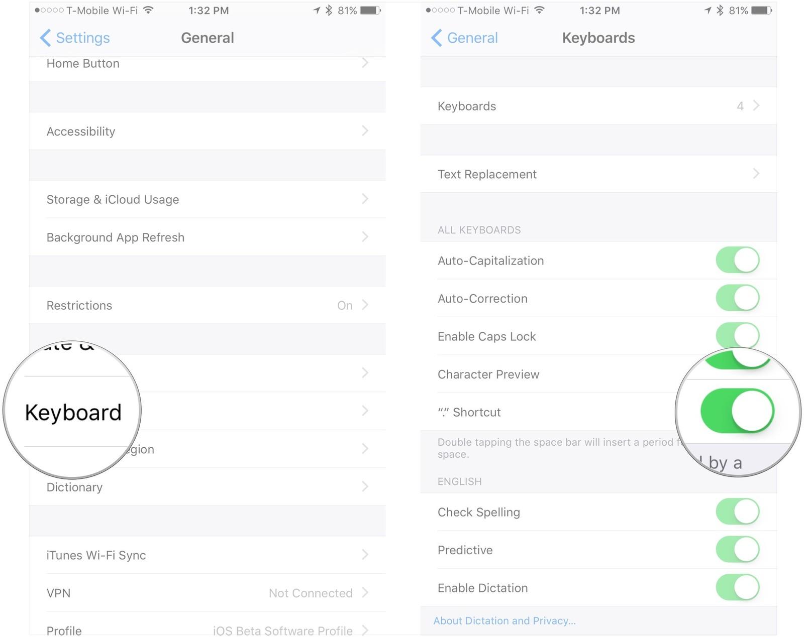 11 вещей которые должен знать каждый пользователь iPhone или iPad - активация режима пунктуации
