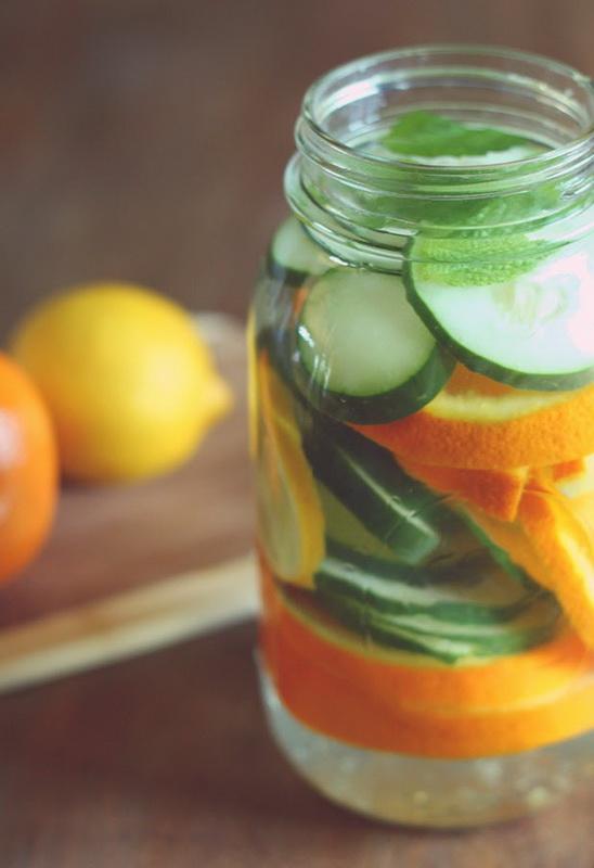 Вкусный детокс-огуречно-цитрусовая вода с мятой
