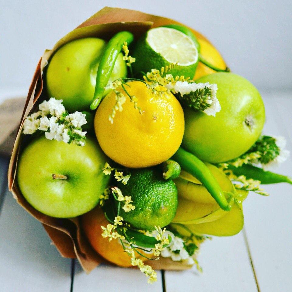 Яблоки и лимоны-креативный букет