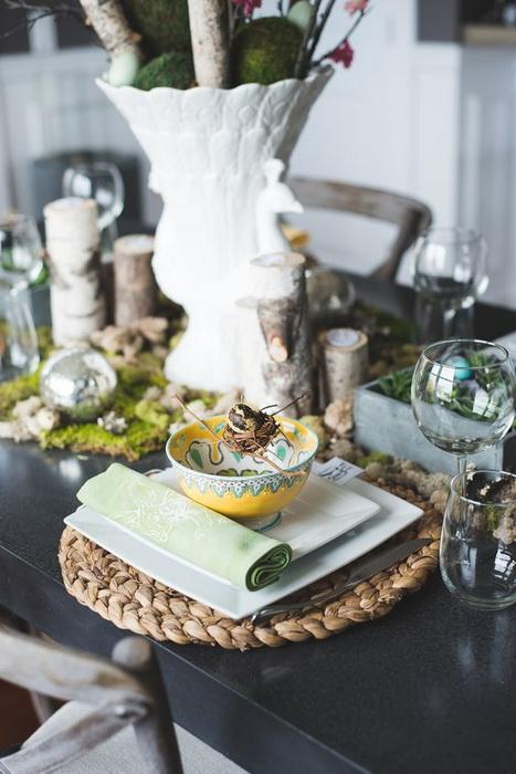 Пасхальная сервировка стола-зеленые лужайки