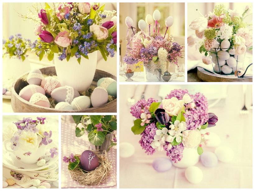 Пасхальные гнезда с цветами-фото