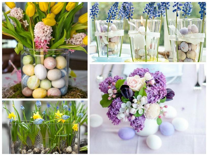 Цветочно-яичные композиции-сервировка стола