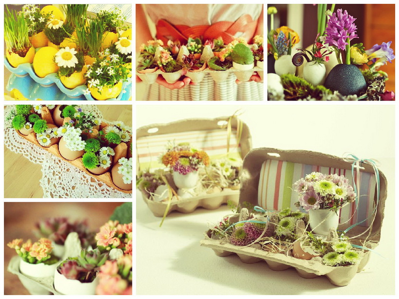 Цветочно-яичные композиции в сервировке стола-подготовка к Пасхе-2018
