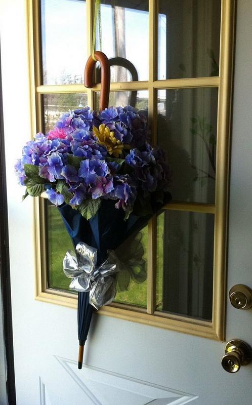 Зонт-букет-декор двери