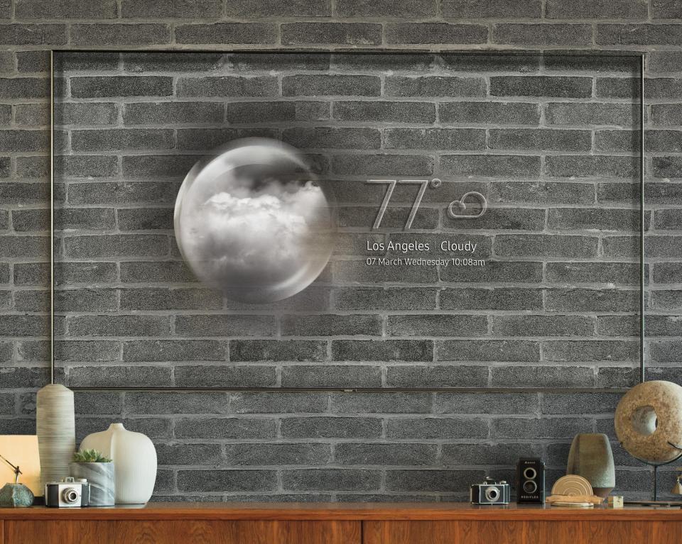 Новинки от Samsung 2018 года_телевизоры-хамелеоны уже скоро появятся в продаже - телевизор сливается со стеной и показывает погоду