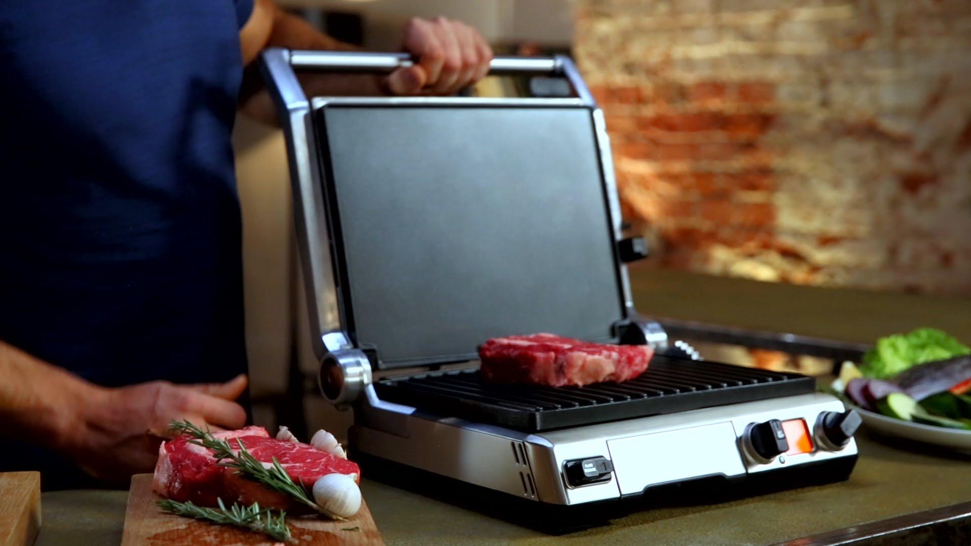 Домашний электрогриль_детальный анализ всех за и против - прижимной гриль с мясом