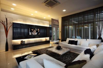Пример расположения ТВ на стене