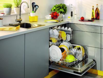 Відкрита посудомийка з посудом