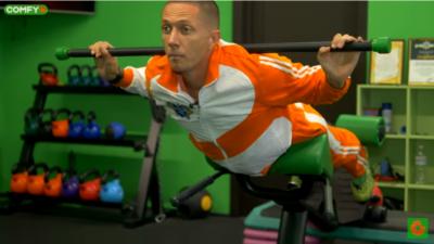 Гиперэкстензия с гимнастической палкой