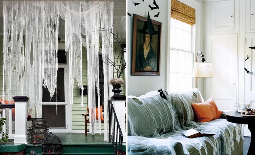 Как украсить дом к Хэллоуину-интересные идеи паутина