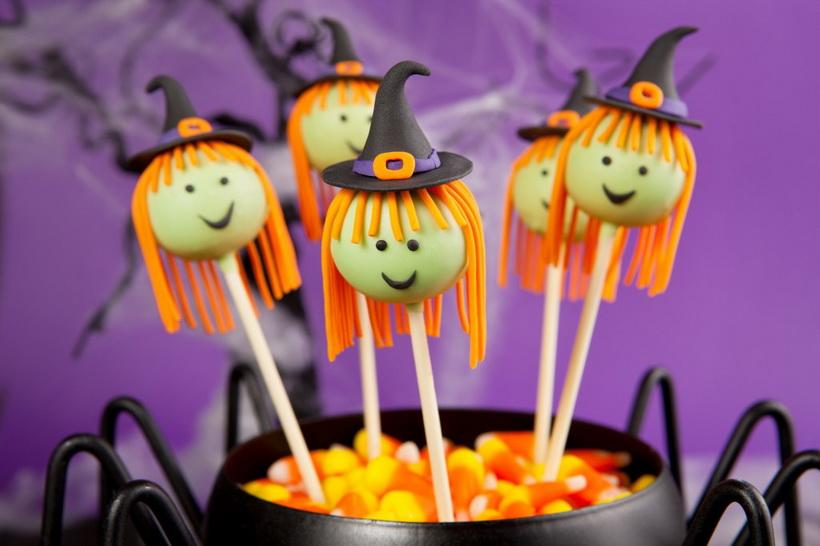 Кейк-попс веселые ведьмы-подача