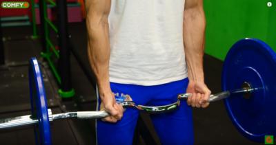 Упражнение с кривой штангой