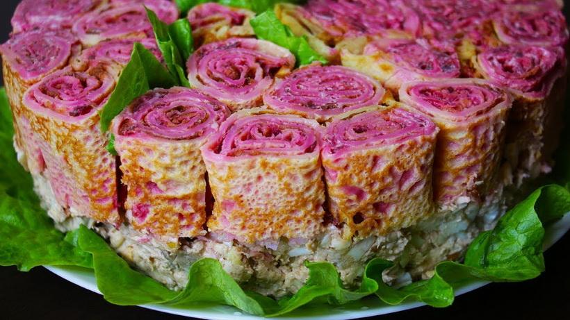 Праздничные розы-салат-закуска