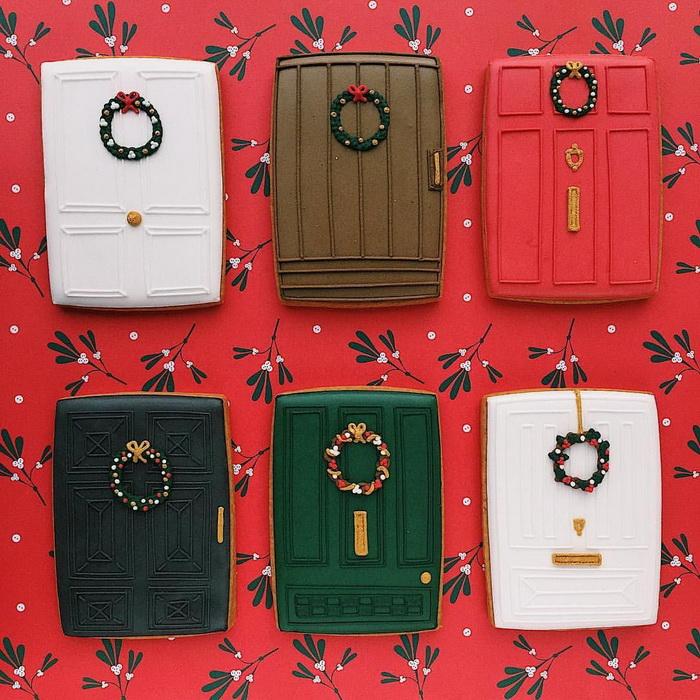 Пряники-украшенные к Рождеству двери