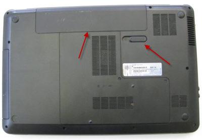Отсоединение батареи ноутбука