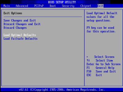 Пример сброса настроек в BIOS