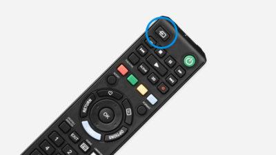 Кнопка INPUT на пульте телевизора
