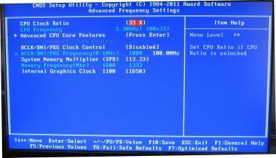Налаштування CPU Clock Ratio в Біос
