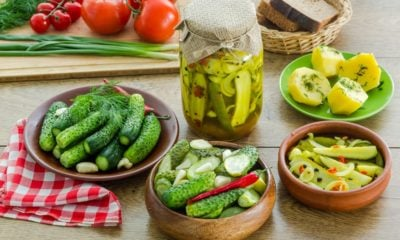 Різні страви з огірками на столі