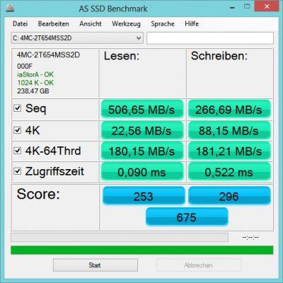 Програма для вимірювання швидкості SSD диска AS SSD Benchmark