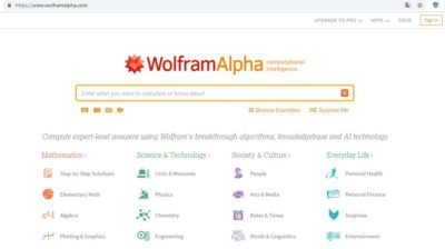 Система пошуку таблиць і графіків Wolfram|Alpha