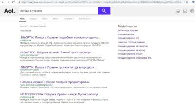 Зарубежная поисковая система Search.aol.com