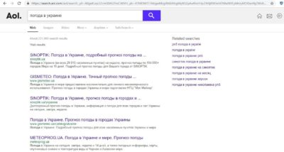 Зарубіжна пошукова система Search.aol.com