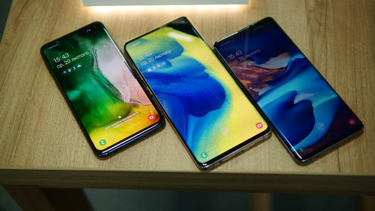 Новые флагманы Samsung Galaxy S10-экраны сравнение фото 1