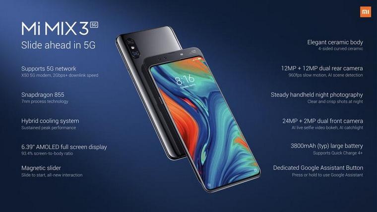 Xiaomi-новая версия Mi Mix 3 ракурсы и характеристики
